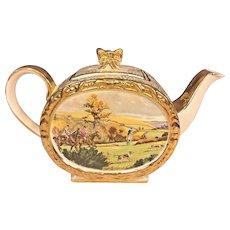 Antique Sadler Porcelain Teapot w/ Lid Gold Gilt Hunt Scene Pattern #1713 Made in England