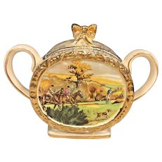Antique Sadler Porcelain Sugar Bowl Pattern # 1713 Hunt Scene Made in England