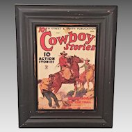 Cowboy Stories Pulp Fiction Reproduction Print of Cover from 1934  Wallace K Norman Story A R Mitchell Cover Artist Put out by Museum
