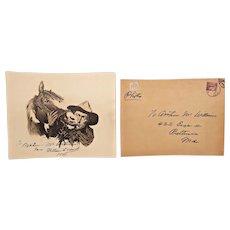 Vintage William S Hart Cowboy Print with Autograph with Original Mailing Envelope