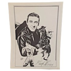 Vintage Mario DeMarco Cowboy Print Signed by George O'Brien
