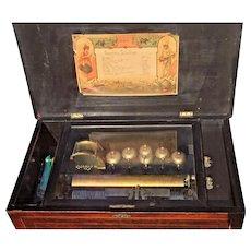 Antique Swiss Music Box 12 Tunes Pin Roller 6 Bells and Drum Henry Gautschi & Sons Philadelphia Swiss Movement 1880s