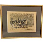 "Antique Edwin Forbes Civil War Related Engraving Etching 1876 Plate #39 Professionally Framed ""Bummers, Those are Johnnies as Sure as You're Born"""