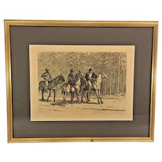 """Antique Edwin Forbes Civil War Related Engraving Etching 1876 Plate #39 Professionally Framed """"Bummers, Those are Johnnies as Sure as You're Born"""""""