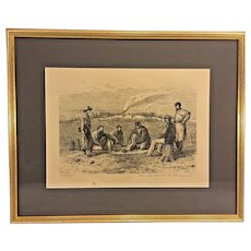 """Antique Edwin Forbes Civil War Related Engraving Etching 1876 Plate #35 Professionally Framed """"Trading for Tobacco and Coffee"""""""
