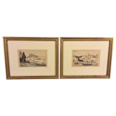 2 Antique Whaling Engravings  Whaling in New Zealand by Jacob Xaver Schmuzer  18th Century Copper Plates in Frame   from Discourse in Natural History