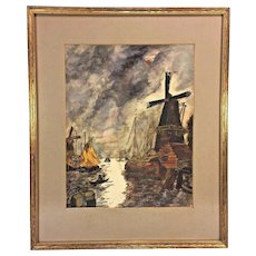 Watercolor Dutch Scene Painting Windmill & Port Attributed to Paul Swimmery Sr