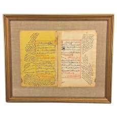 Antique Early Documents Pages of Book Possibly Religious Related in Frame Framed by Gilbert Stuart Studio in Chestnut Hill PA