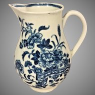 Antique Dr Wall Worcester Miniature Creamer Pitcher Crescent Circa 1780 Nice Blue Detailing
