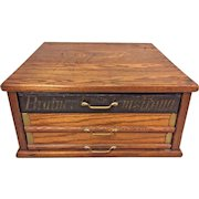 Antique Countertop 3 Drawer Spool Cabinet Oak Case Brainerd & Armstrong Brass Hardware Stenciling