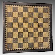 Early Framed Gameboard Chess Checkes Under Glass in Frame Wood or Tile Playing Squares