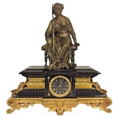 Antique Henri Houdebine French Japes Freres Gold Trim & Feet Slate Case Clock w/ Incising Solid Bronze Sculpture Topper of  Lady  Greek Neo Classical Style