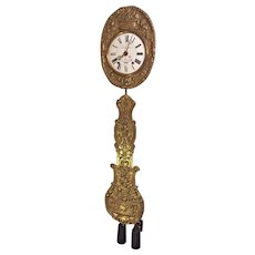 Antique Morbier Wag on Wall Clock Enamel on Copper Face w/ Weights & Pendulum Runs? Strikes?  Made by Descartes of Germany