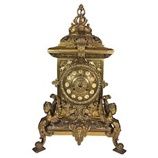 Antique French Figural Brass Clock Greek Neo Classical Motif Beautiful Case and Face No Pendulum Not Running