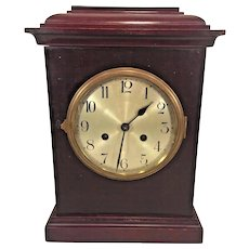 Vintage Schlenker-Kienzle Mantel Clock Time & Strike  No Pendulum Not Running Silver Face Brass Bezel Germany