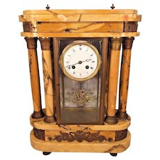 Antique Samuel Marti Clock w/ Bronze Curved Embossed Plates on Top & Bottom Goldish Brown Marble Case w/ Matching Columns Unique Crystal Regulator Case Embedded Within Running Very Unique Case
