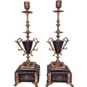 Antique Pair of Candlestick Garnitures Candelabras Marble Slate Bases Incised Detailing w/ Bronze Trim