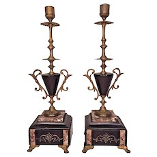 Antique Pair of Candlestick Garnitures Candelabras Marble Slate Bases Incised Detailing w/ Bronze Trim