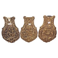 Vintage 3 Wag on Wall Clock Pendulum Embossed Design Bottom Pieces Only