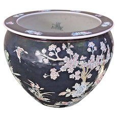 Vintage Asian Porcelain Jardiniere Nicely Decorated  Red Mark on Bottom (2 of 2)