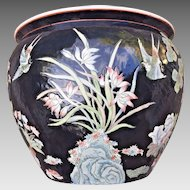 Vintage Asian Porcelain Jardiniere Nicely Decorated  Red Mark on Bottom (1 of 2)