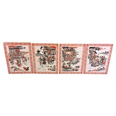 4 Vintage Asian Tiles Various Scenes Black & Red with Gold Outline on White Glaze Background Nicely Detailed