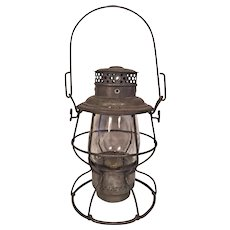 Antique Boston & Maine Railroad Lantern Clear Glass Shade  Burner in Place