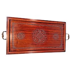 Vintage Wood Mahogany Serving Tray  w/ Pressed Cirlce & Star Design  Metal Handles Felt Bottom
