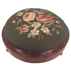 Antique Diminutive Needlepoint Footstool Interesting Topper Screw Affixing Method