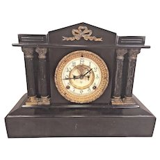 Ansonia Open Escapement Clock Porcelain Face Iron Case Not Running