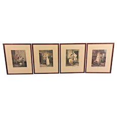 Vintage 4 F Wheatley Cries of London Engravings Framed Engraved by Vendramini & Others