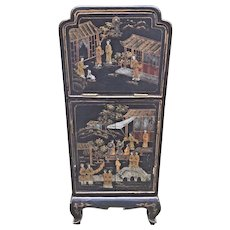 Vintage Asian Diminutive Chest Nicely Decorated Designs Desk & Storage Area