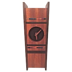 Robert McKeown Modern Artisan Wooden Shelf Clock 1980 Running Exotic Woods and Artisan Made Resin Panels Signed by Artist Piece Made for Certainteed Employee
