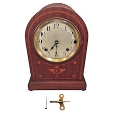 Antique Seth Thomas Sonora Chime 5 Bell Clock Runs! 89AG & 90B Mvmts Inlaid Case w/ Crazing to Finish