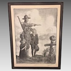 Ant World War I Print Soldier Standing Over Grave Signed by Artist/Illustrator Artist Name Appears to be Lomax or Lyomaf  Framed w/ Glass Over Print