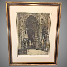 Luigi Kasimir Signed Etching of Saint Stephen's Cathedral Interior   Signed by Artist Framed & Matted