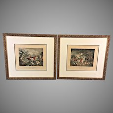 Antique Pair of Hand Colored Fox Hunt Engravings in Gold Colored Frames Engraved by Edward Bell 1801 Printed by George Morland