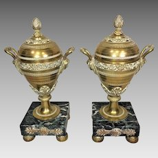 Vintage Pair of French Gilt Bronze Urns with Lids Embossed Details Marble Bases & Gold Colored Wafer Feet