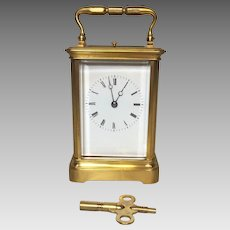 Vintage French Repeater Carriage Clock Runs!   Beveled Glass   Bell Strike Not Striking