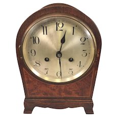 Antique Wurtemberg Mantel Clock Dark Oak Case Inlaid Front Time & Strike Runs and Strikes!