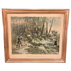 "1836 R G Reeve ""Woodcock Shooting, December"" Antique Lithograph in Wood Frame"