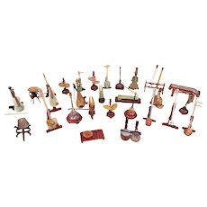 Chinese Mini Musical Instruments made of Jade & Semi-Precious Stones with Wood Stands   w/ Carrying Case
