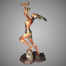 Martin Mendoza Aztec Night Fem Dancer Sculpture   24K Gold Plated   D'Argenta Intl. Mexico, 1 of Ltd Edition of 500