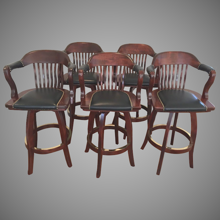 Outstanding Set Of 5 Bar Stools Seats Swivel With Padded Leather Seats Arms Sj Products Mahogany Finish Courthouse Model European Beach Wood Machost Co Dining Chair Design Ideas Machostcouk