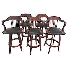 Set of 5 Bar Stools Seats Swivel with Padded Leather Seats & Arms SJ Products Mahogany Finish  Courthouse Model European Beach Wood