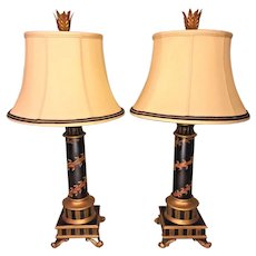 Pair of Contemporary Table Lamps w/ Shades Polychromed Wreath Design Lampcrafters Lexington NC