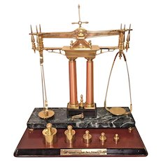 Franklin Mint Gold Rush 150th Anniversary Balance Scale   with Weights and Wood Base