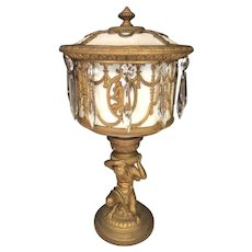 Neo Classical Figural Urn Lamp White Slag Glass Drapes & Columns Castings Squatting Figure Holding Lamp Up Works!