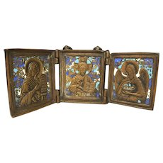 Triptych Religious Icon Bronze & Enamel The Virgin, Savior & St John 3 Colors