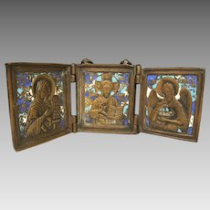 Triptych Religious Icon Bronze & Enamel The Virgin, Savior & St John 3 Colors